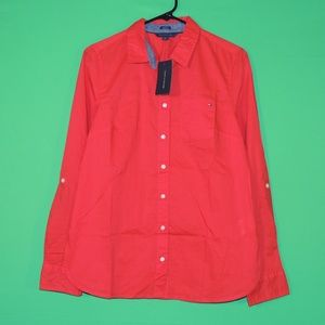 Tommy Hilfiger Womens M Red Long Slv Shirt NEW